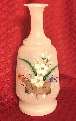 Antique LARGE VICTORIAN Bristol Glass VASE Hand Painted Flower Fern Bouquet 13! Check Sale Details