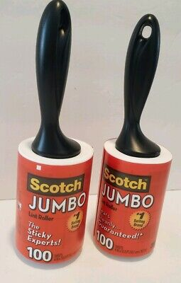 Scotch JUMBO Lint Roller Pet Hair Remover SM Refillable 100 Sheets Tears Cleanly