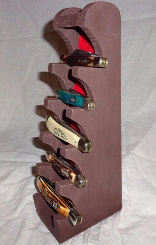 Knife Display Stand Wood Regular Pocket Knives Brown Distressed / Red Felt