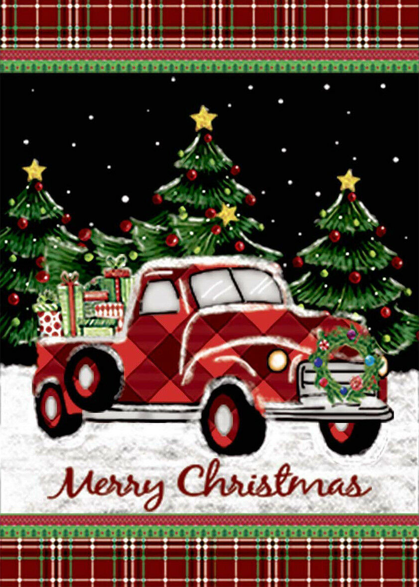 Morigins Merry Christmas Red Truck with Gifts Double Sided W