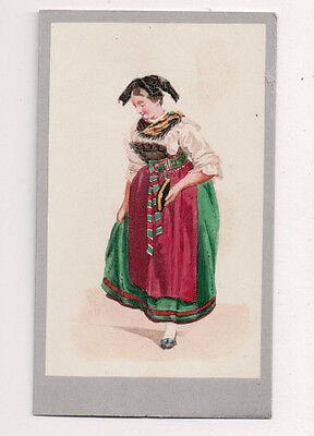 Vintage CDV Handbemalt Alsace Lorraine Frankreich Traditionell National Kostüm