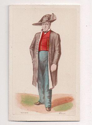 Vintage CDV Handbemalt Mann Alsace Frankreich Traditionell National Kostüm