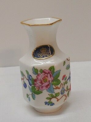 Small Vase Pink Red Flowers Blue Bird Aynsley Fine English Bone China Vintage
