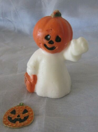 Vintage Halloween Candle Ghost Pumpkin Head and Pumpkin Charm/token