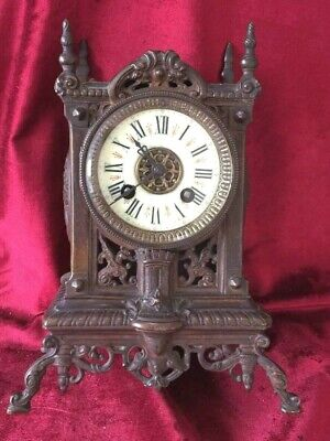 Good French Antique Bronze Striking Mantle Clock