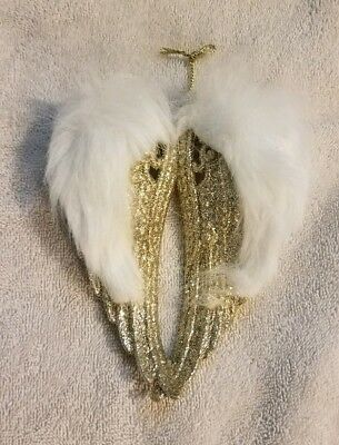 ANGEL WINGS GOLD GLITTER CHRISTMAS ORNAMENTS WHITE FAUX FUR CHRISTMAS ORNAMENTS - Christmas Angel Ornaments