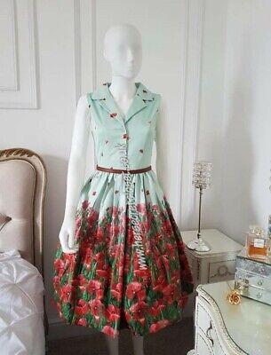 Lindy Bop Matilda Poppy Field Retro Pin-up dress + belt New + Tags Size 18 1950