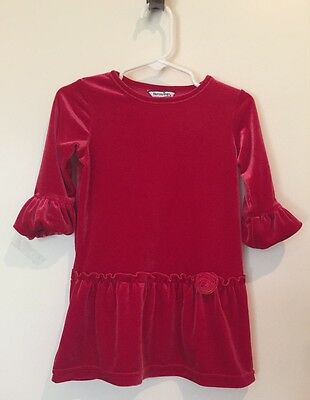 NEW Hartstrings Baby Girl Red Velvet Dress With Flower Detail At Waist, SZ 18mo - Flower Girl Dresses With Red