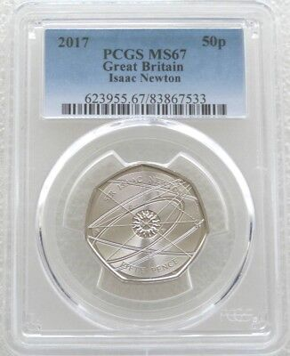 2017 Sir Isaac Newton 50p Fifty Pence Coin PCGS MS67