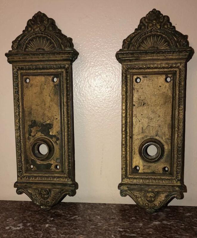 Antique Salvage Pair Of Art Nouveau Ornate Angels Bronze Door Knob Face Plates