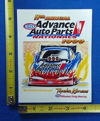 1999 Nhra Advance Auto Parts Nationals Event Decal Sticker Winston Drag Racing