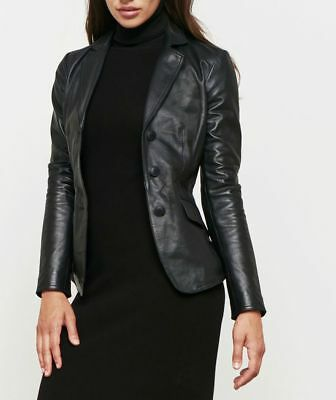 Vintage Arts New Womens Black Blazer Model Cafe Quilted Best Pure Leather (Best Quilted Jacket Womens)