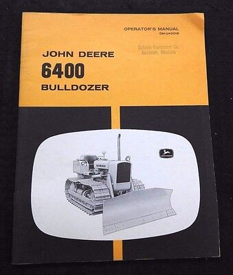 Genuine 1964 John Deere Jd450 Tractor 6400 Bulldozer Operators Manual Nice Shape