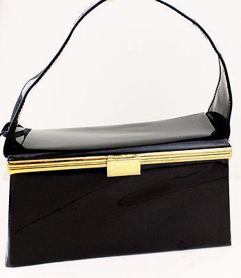 1950s Handbags, Purses, and Evening Bag Styles Vintage Handbag Black Vinyl Box Purse 1950s 60s Rockabilly Retro Womens Ladies $50.35 AT vintagedancer.com