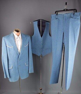 Vtg Men's 70s 3pc Soft Denim Western Leisure Suit Size large Long #3082