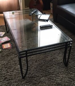 Glass coffee table and end table set
