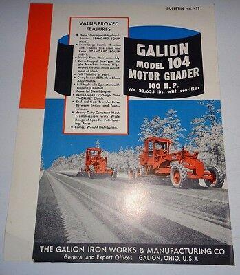 Galion 104 Motor Road Grader Sales Brochure Literature 1956 Original