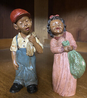 Vintage Collectable Marked TNT Black African Americana Couple Resin Figurines