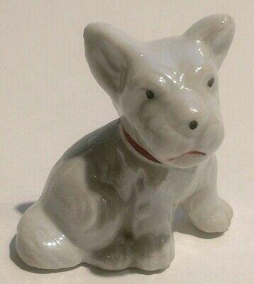Vintage Miniature Porcelain White Scottish Terrier Dog Figurine Red Collar