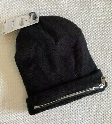 ZARA Knit Beanie With Zipper Black