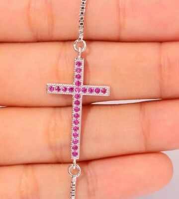 Ruby Bracelet Gemstone Sterling Silver Cross Cinch Smaller  6-9 Inch