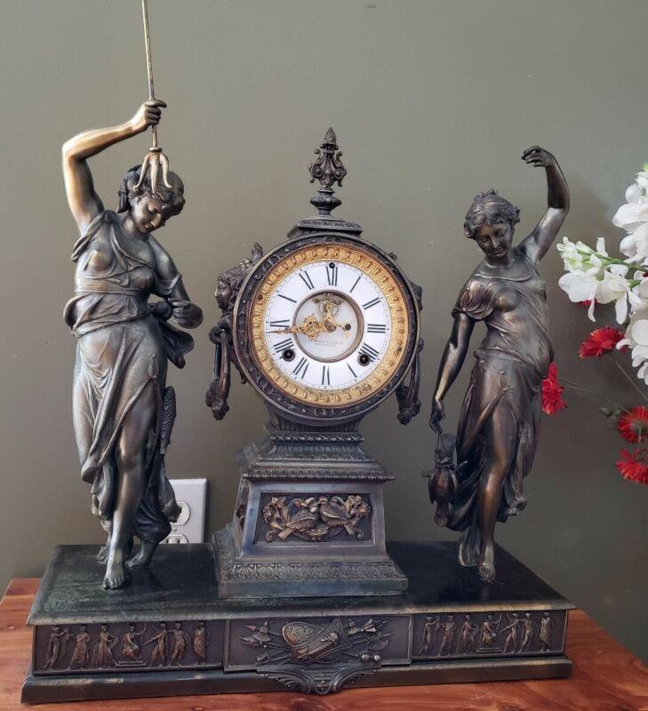 Antique Ansonia figural FigurMuses double statue Bronze finish/Iron Mantel Clock