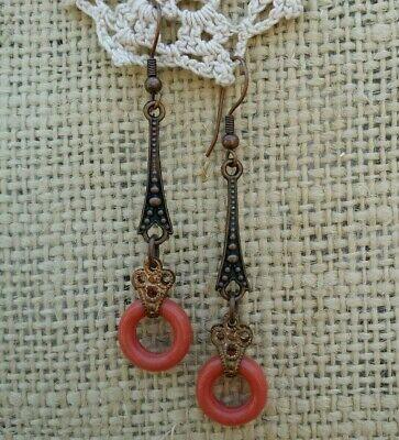 Antique Vintage Art Deco Style Copper Earrings Coral Glass Doughnut Dangle Drop