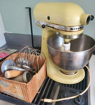 Vintage Hobart Mfg Co KitchenAid Mixer & Bowl & Attachments USA