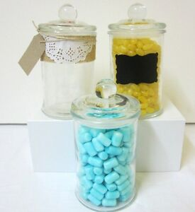 12x-750ml-Small-Glass-Jars-Lids-Candy-Buffet-Lolly-Jars-Wedding-Apothecary