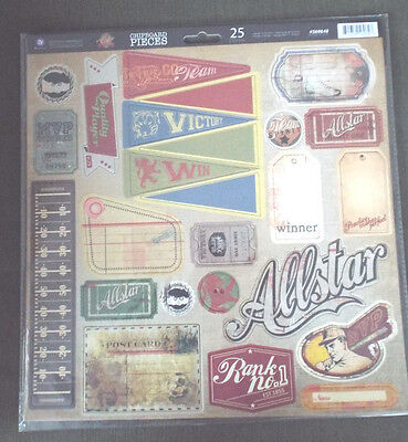 "12"" Scrapbook 25p Vintage Prima Chipboard All Star Sport Football Baseball Team"