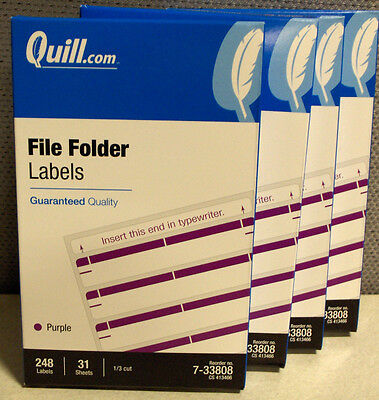4 Boxes (992) Quill® File Folder Labels, Purple Type/Print 1/3 Cut - Cut File Folder Labels