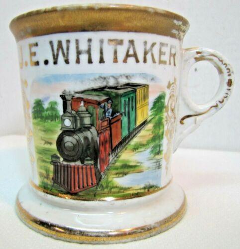 Antique Occupational TRAIN CONDUCTOR Shaving Mug JE Whitaker Aug KERN St LOUIS