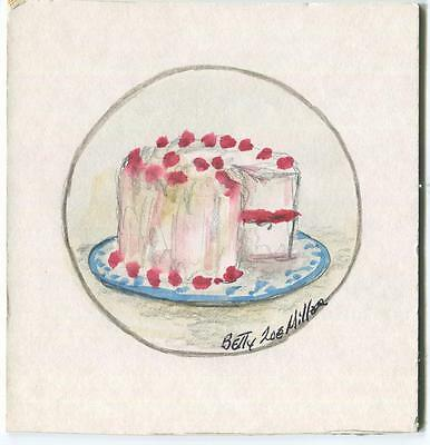 FOLK ART PRIMITIVE WHITE PINK RASPBERRY BIRTHDAY DESSERT CAKE VIRGINIA PAINTING