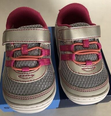 Stride rite Baby Girl Toddler Solana Silver/Pink Shoes US Size 3M