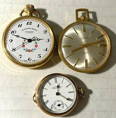 Lot of Three Vintage Pocket Watches- Waltham, Television, Tradition RFT-46