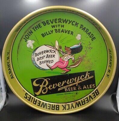 "Vintage Bewerwyck Beer & Ale Advertising Metal Tray Albany NY - RARE 13"" Beaver"