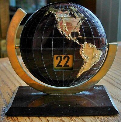 Vintage 1944 Advertising World Globe Desktop Perpetual Flip Calendar
