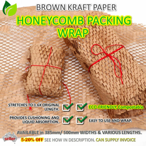 HONEYCOMB WRAP Kraft Paper Brown Cushion Hexcel Protective Eco Wrapping AUSSIE