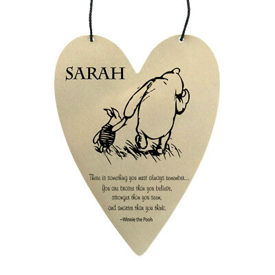 Disney Winnie The Pooh quote personalised on metal heart wall hanging (Disney Winnie The Pooh Wall Hanging)