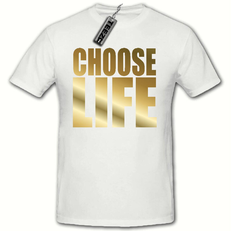 Choose Life tshirt, WHAM 80's Fancy Dress tshirt, White (Gold Slogan)