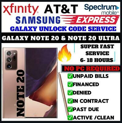 AT&T SPECTRUM XFINITY ATT SAMSUNG UNLOCK CODE GALAXY NOTE 20 | NOTE 20 ULTRA