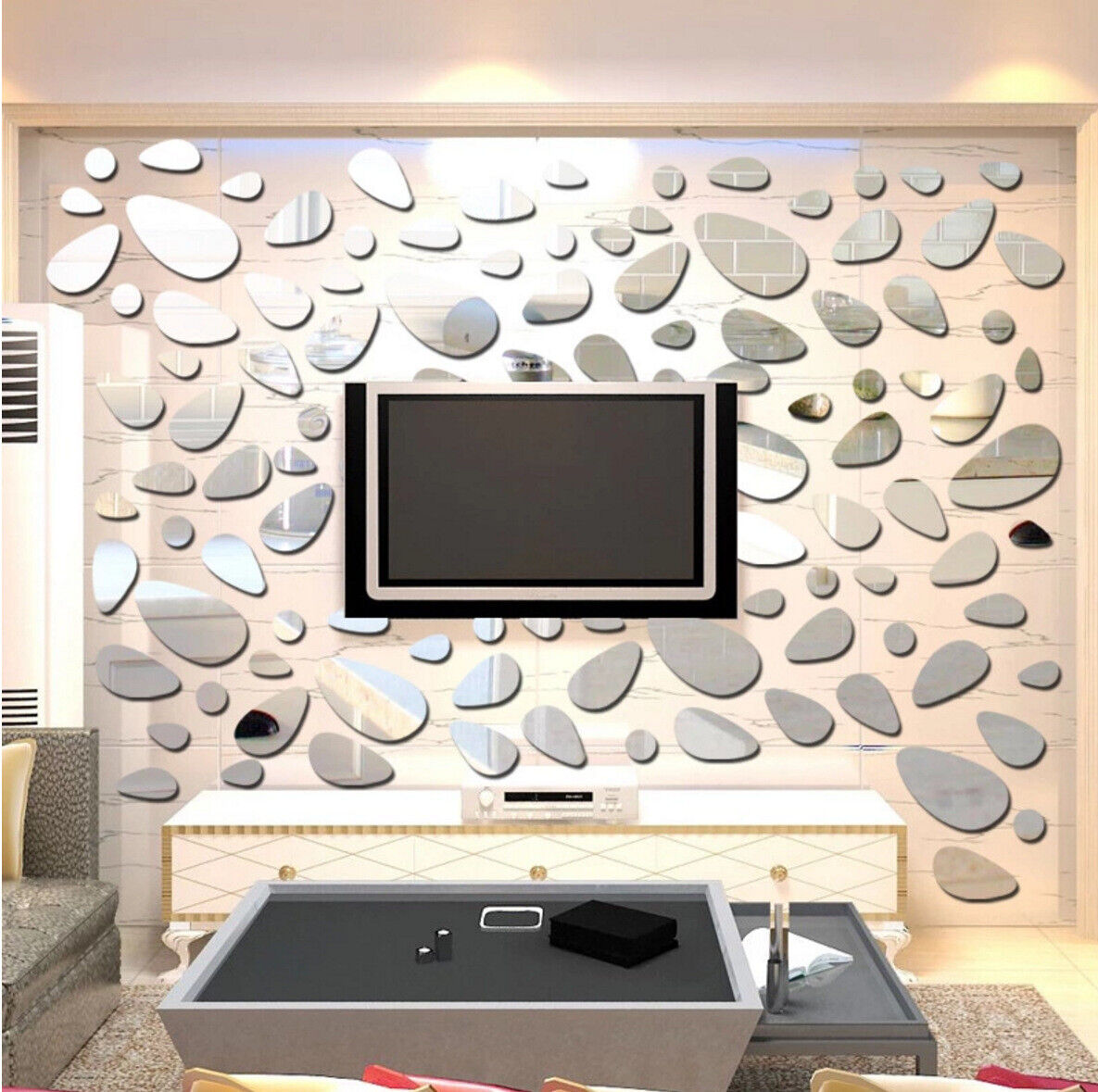 Home Decoration - 3D Wall Sticker Removable Mirror Cobblestone Shape Wall Decals Modern Home Decor