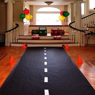 Race Car Theme Birthday Party Racetrack Floor Runner Decoration 10' x - Cars Birthday Party Theme