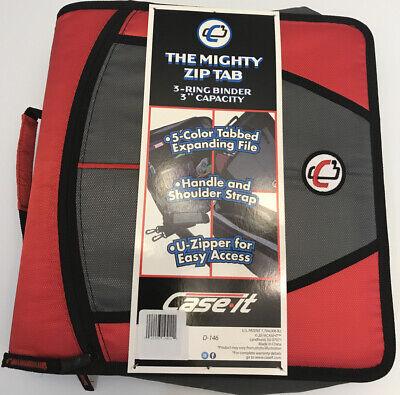Case-it Mighty Zip Tab 3-ring 3-inch Zipper Binder Expanding File Redblack B65