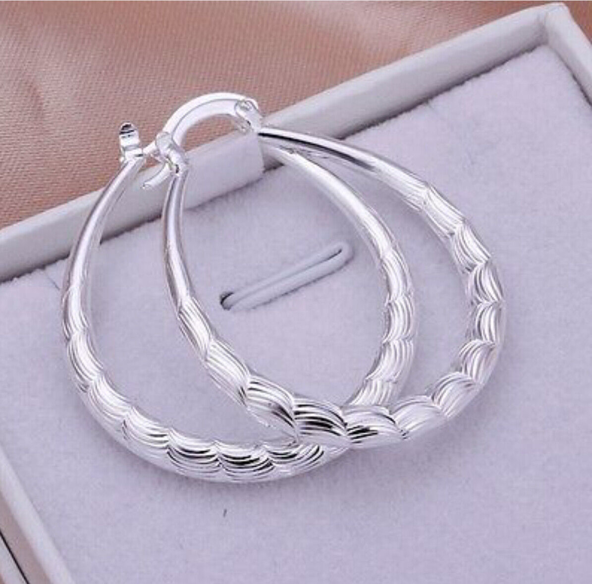 Jewellery - 925 Sterling Silver Oval Etched Hoop Pierced Women's Earrings