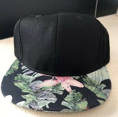 Flat Flowers (New NWT Mossimo Supply Floral Flat Bill Hat Adjustable Strapback Black w Flowers)