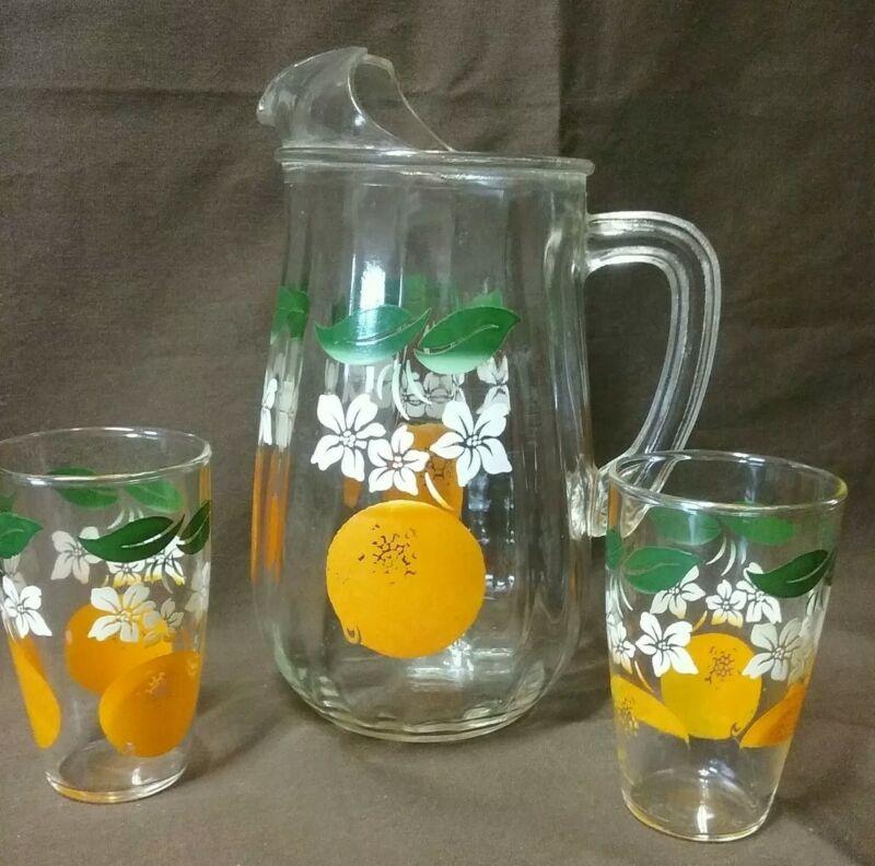 Vintage Ribbed Orange Juice Pitcher with Ice Lip & 2 Glasses