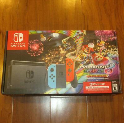 Nintendo Switch Console Mario Kart 8 Deluxe Holiday Bundle Neon Blue/Red Joy-Con