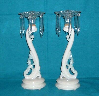 Rare SWIRLING ALADDIN ALACITE Art Nouveau GLASS & CRYSTAL Candle Holders Prisms