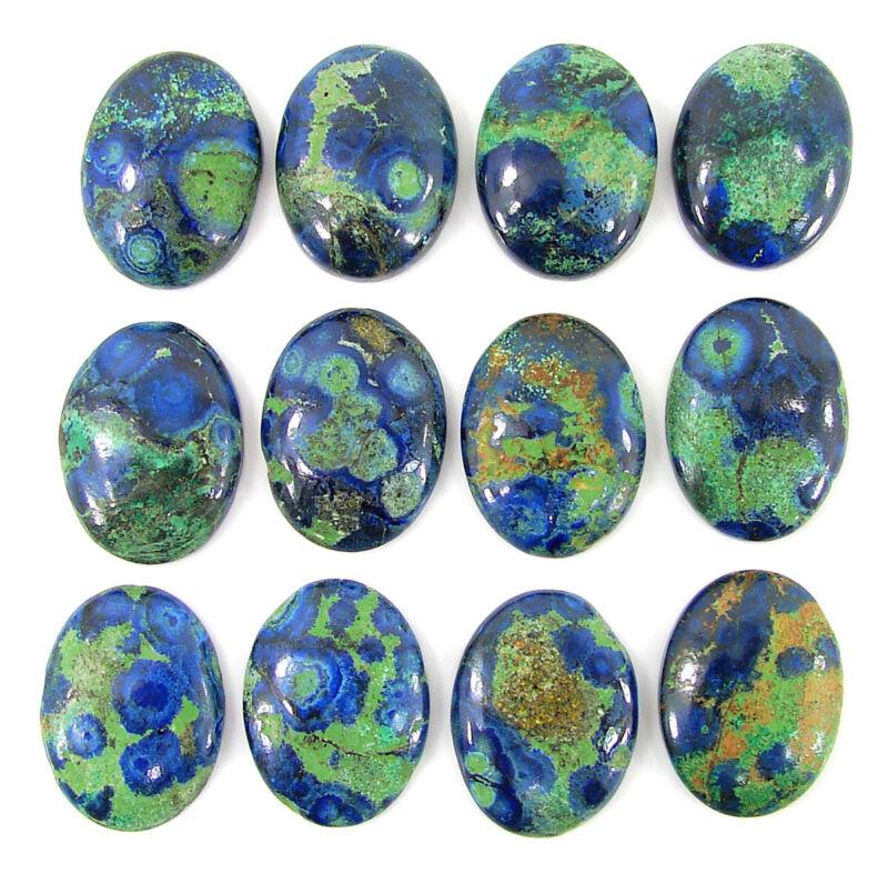 129.25 Ct Natural Azurite 20x15 MM Loose Gemstone Oval Cab 12 Pcs Lot - 35109